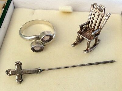 Nice Lot Of Vintage Solid Silver - Rocking Chair Charm / Silver Ring & Tie Pin