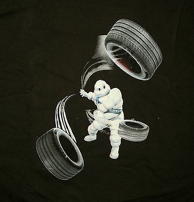 New Style Michelin Man Throwing Tires Tire Logo Auto Racing T-Shirt New NOS XL