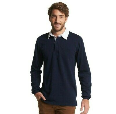 Uneek Classic Rugby Shirt Mens Long Sleeve Sports Polo Top 100% Cotton (UC402)