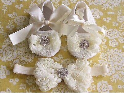 Baby Girl Baptism Christening Shoes Prewalker Crib Pram Photo Socks Headband Set