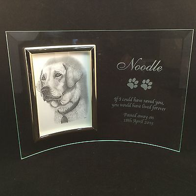 Personalised Engraved Glass Photo Frame - In Loving Memory Pet Memorial Dog