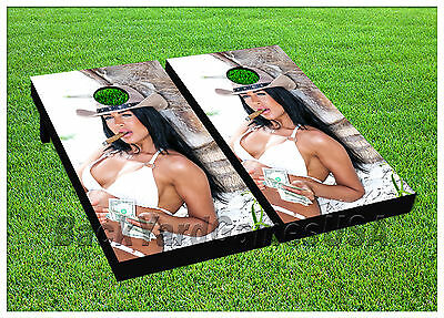 CORNHOLE BEANBAG TOSS GAME American Cowgirl White w Bags Game Boards Set 1063