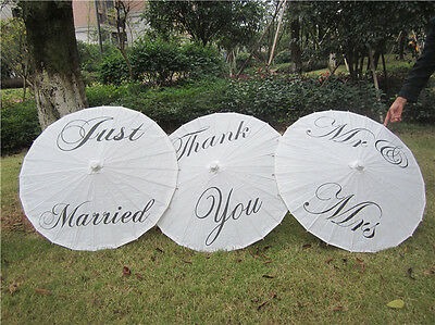 Wedding Parasol Umbrella Paper &Bamboo Mr & Mrs Wedding  Photo Prop Decor Favor