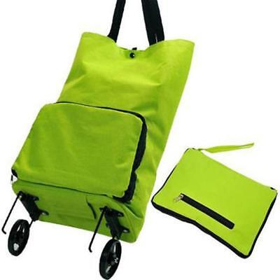 Travel Rolling Shopping Tote Luggage Bag with Wheels Pulley Foldable Green