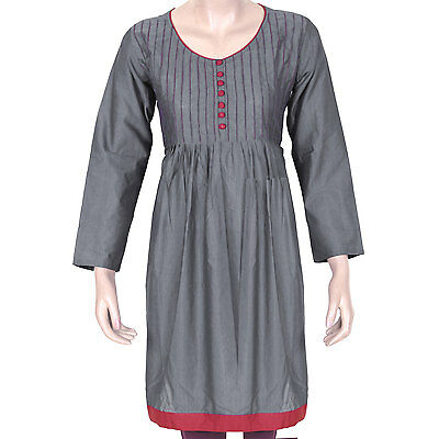 Ethnic Indian Unique Gray Pleated Kurti Women's Ladies Dress Front Buttons