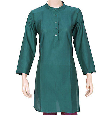 Ethnic Indian Dark Teal Plain Kurta Kurti / Woman Shirt - Mandarin Collar 904118