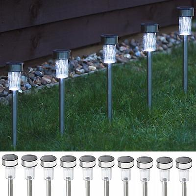 10 x STAINLESS STEEL SOLAR LED OUTDOOR GARDEN PATIO LIGHT RECHARGEABLE LAMPS SET