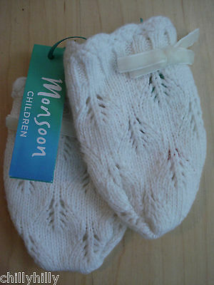 Monsoon Baby Girl Mittens Pointelle Knit Ivory with Bow Xmas Gift BNWT