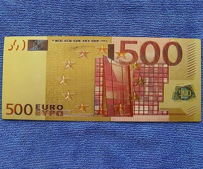 500 Euro Bank Europe Exercises and Training Coloured 24K Gold Foil Money