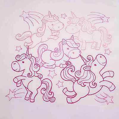 UNICORN PARTY  Fabric Embroidered Quilt Block Cushion Panel white cotton to sew