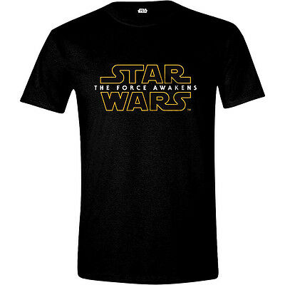 STAR WARS VII Men's The Force Awakens Main Logo T-Shirt Small Black (CD103STW-S)