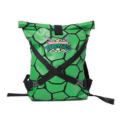 TMNT Folded Shell with Logo and Cross Strap Detail Backpack, Green/Black