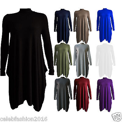 Ladies Womens Polo Neck High Turtle Neck Long Sleeve Flared Swing Skater Dress