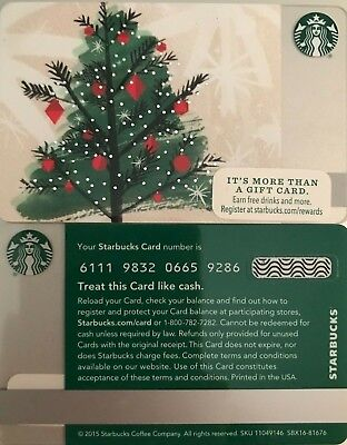 New 2015 Starbucks Christmas Tree Gift Card No Value Limited Edition Mint