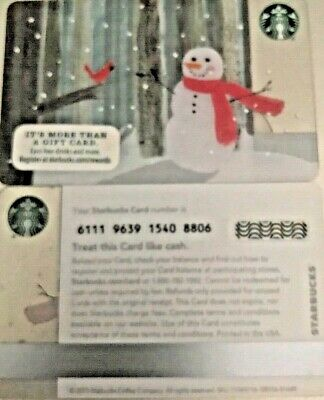 """New 2015 Starbucks Christmas """"snowman"""" Gift Card No Value Limited Edition Mint"""