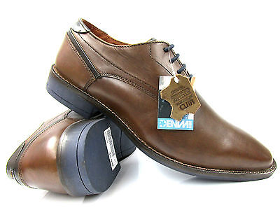 Mens Leather Smart Casual Lace Up Work Office Formal Gibson Shoes Size Brown