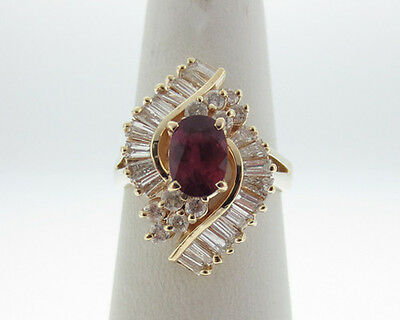 Estate 2.30cts Natural Ruby Diamonds Solid 14k Yellow Gold Cocktail Ring