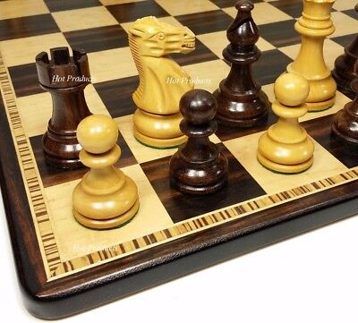 "STAUNTON WOOD CLASSIC 3 3/4"" KING CHESS SET Ebony & Birdseye Maple Board 17"""