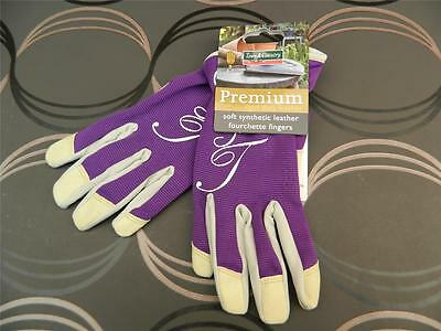 Town & Country Premium Soft Synthetic Leather & Spandex Gardening Gloves. Purple