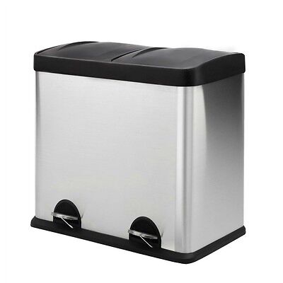 Rubbish Bin Kitchen Pedal Double Compartment Removable Bin Flip Top Recycle 48L