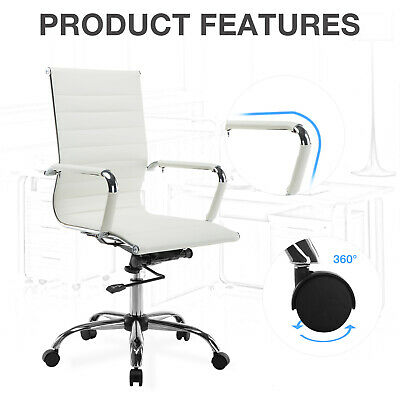 High Back Office Chair Swivel PU Leather Ergonomic Computer Chair Desk Black