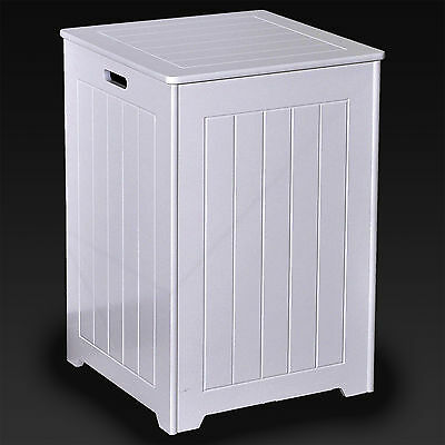 Large Laundry Bin Basket White Wooden Square Hamper Bathroom Bedroom Hinged Lid