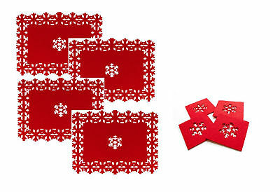Set Of 4 Red Coasters Or Placemat Set Red Felt SnowFlake Christmas Dinner Table