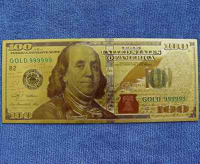 100 Dollars United States of America Training Banknote 24K Gold Foil Money