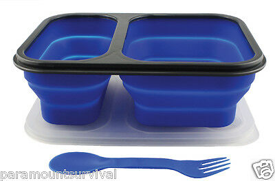 Silicone Collapsible Food Container Dual Compartment W/ 2 IN 1 Utensil  on Lid