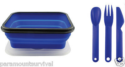 Silicone Collapsible Food Container Large W/ 3 Pc Utensil  Set on Lid
