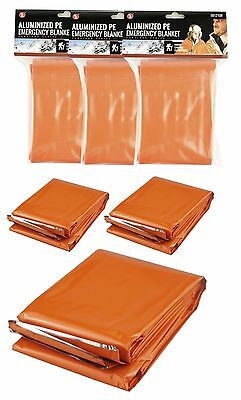3 Orange Heavy Duty Mylar Emergency Cold Weather Survival Blankets Signal Marker
