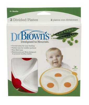 Dr. Brown's Designed to Nourish Divided Plates, 2 Pack Allows Easy Baby Feeding