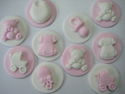 12 Cake Toppers Edible Cupcake Decorations Christening Baby Shower Pretty Discs