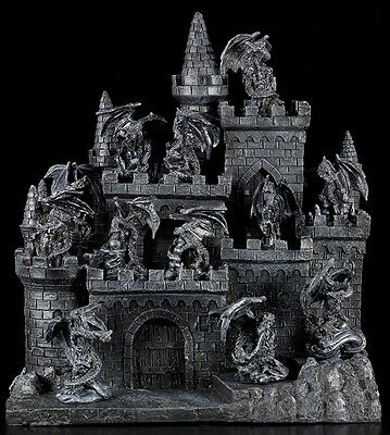 Drachen Figuren 12er Set mit Burg-Display Gothic Fantasy