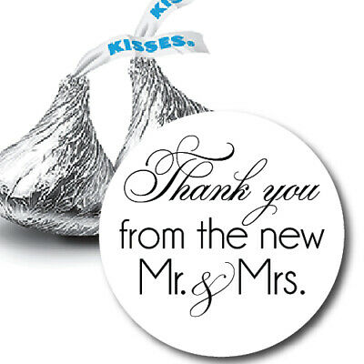 108 Thank you from the new Mr. & Mrs. Hershey Kiss Stickers Favors - any color
