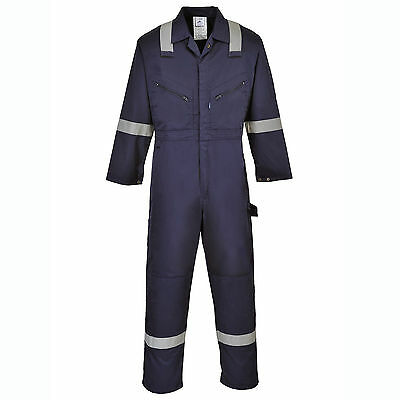 Mens Work Coverall Overall Boilersuit HI VIS Strips Knee Pad Pockets F813