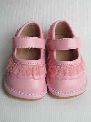 Pink with Ruffle Toddlers Shoes Mary Jane Up to Size 7 Squeaky Shoes