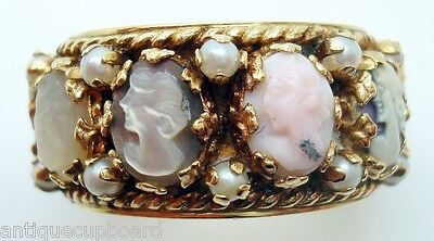 Large 14K Gold Wide Band Cameo Ring With Pearls (#2465)