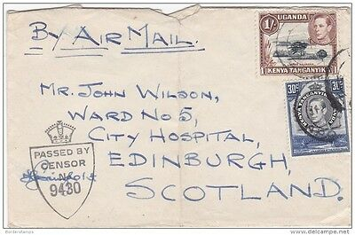 K-U-T KGVI WWII Airmail Censored Cover to Scotland (Folded) BC160