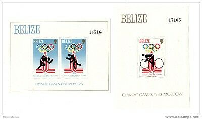 Belize 1979/80 Moscow Olympic Games x 2 sheets MNH AC432