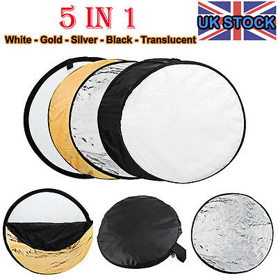 "5in1 60cm Multi Lighting Reflector Collapsible Photo Studio Photography 24""+Case"