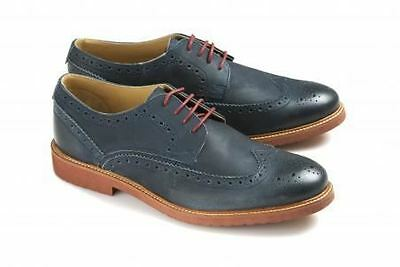 Ikon Hazel Blue Mens Cow oil lace up Real leather Brogues Shoes