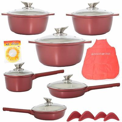 Royalty Line 16 Piece Cookware Set Marble Coating Non Stick Bordeaux Red
