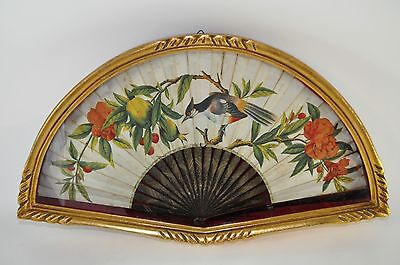 RARE Antique Chinese 1900s Canton export lacquer FAN with flowers & birds