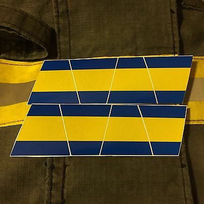 Firefighter Helmet Tets 8 Pack Tetrahedrons Fire Helmet Sticker - Blue/yellow