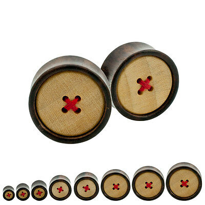 Pair Organic Sono Crocodile Wooden Plugs Double Saddle Flared Knitted Button