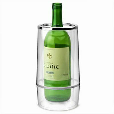Clear Double Acrylic Plastic Wine Bottle Ice Cooling Bucket Champagne Cooler