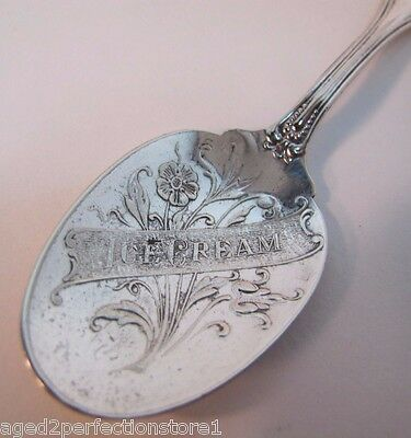 Antique Ice Cream Spoon ornate flower design W silver plate old ice cream parlor