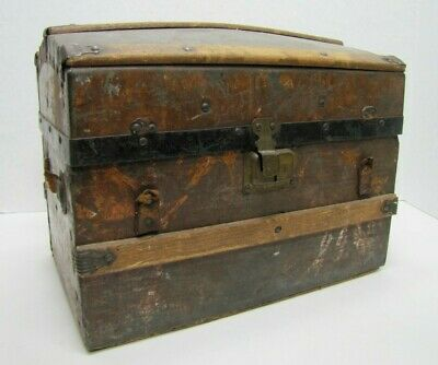 Antique Small Humpback Dome Top Trunk tin over wood leather straps int drawer