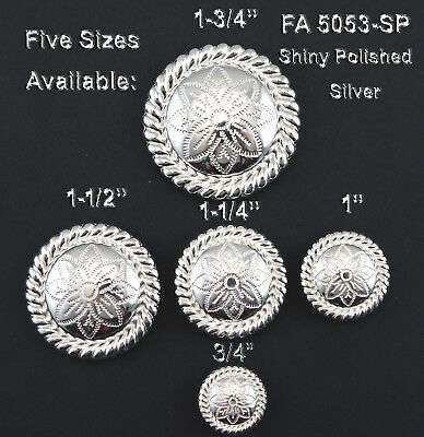 "Conchos Lot Of 6 Bright Silver  Round Rope Edge Floral Western Craft 3/4""-1 3/4"""